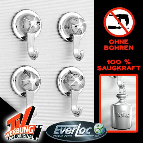 Everloc Wandhaken Haken Set Vakuum Saugnapf System Bad