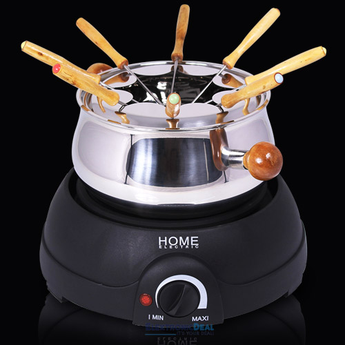 elektro fondue set edelstahl 1500 watt 8 personen k sefondue schokoladenfondue ebay. Black Bedroom Furniture Sets. Home Design Ideas