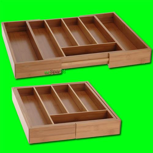 besteckkasten ausziehbar bambus holz besteckeinteiler besteckeinsatz variabel ebay. Black Bedroom Furniture Sets. Home Design Ideas