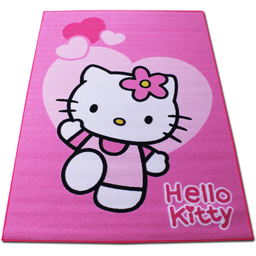 hello kitty kinderteppich spielteppich kinder kinderzimmer teppich rosa 133x95cm ebay. Black Bedroom Furniture Sets. Home Design Ideas