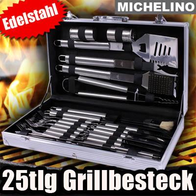 25tlg grillbesteck koffer grillkoffer grillzubeh r grill. Black Bedroom Furniture Sets. Home Design Ideas