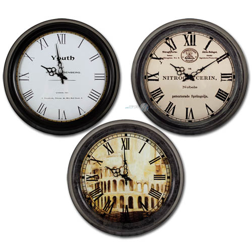xl antike wanduhr 44 cm retro design wanduhren k chenuhr k chenuhren wand uhr ebay. Black Bedroom Furniture Sets. Home Design Ideas