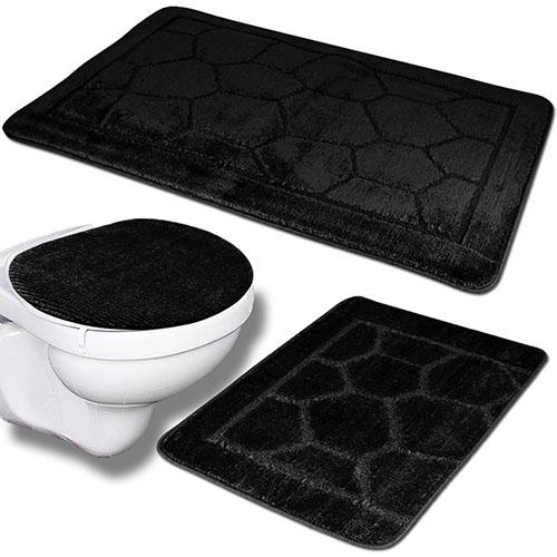 3tlg Badezimmer Set Badteppich Badvorleger WC Deckelbezug