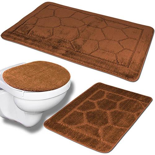 3tlg badezimmer set badteppich badvorleger wc deckelbezug. Black Bedroom Furniture Sets. Home Design Ideas