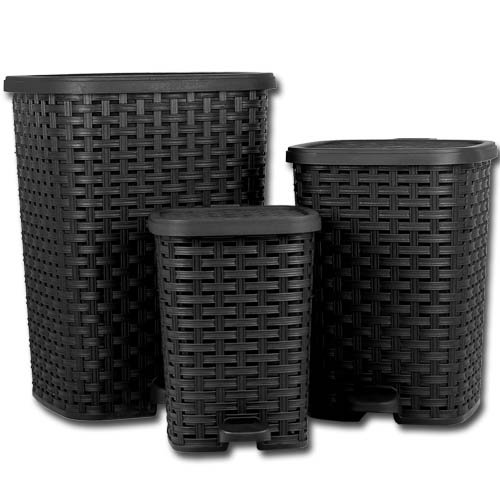 3tlg treteimer set abfalleimer m lleimer papierkorb kosmetikeimer rattan eimer ebay. Black Bedroom Furniture Sets. Home Design Ideas