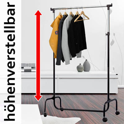 kleiderst nder garderobe garderobenst nder kleiderstaender rollen kleiderstange ebay. Black Bedroom Furniture Sets. Home Design Ideas