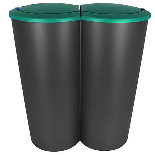 Duo Mülleimer Doppel Abfalleimer Papierkorb Müll Eimer Küche 2x25 ...