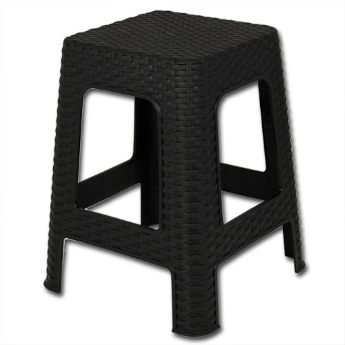 hocker rattan sitzhocker stuhl kunststoff schwarz weiss fu hocker badhocker 45cm ebay. Black Bedroom Furniture Sets. Home Design Ideas
