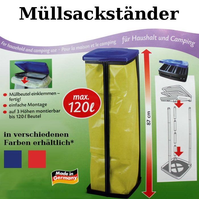 m llsackst nder kunststoff deckel 120 l m llsackhalter gelber sack halter tonne ebay. Black Bedroom Furniture Sets. Home Design Ideas
