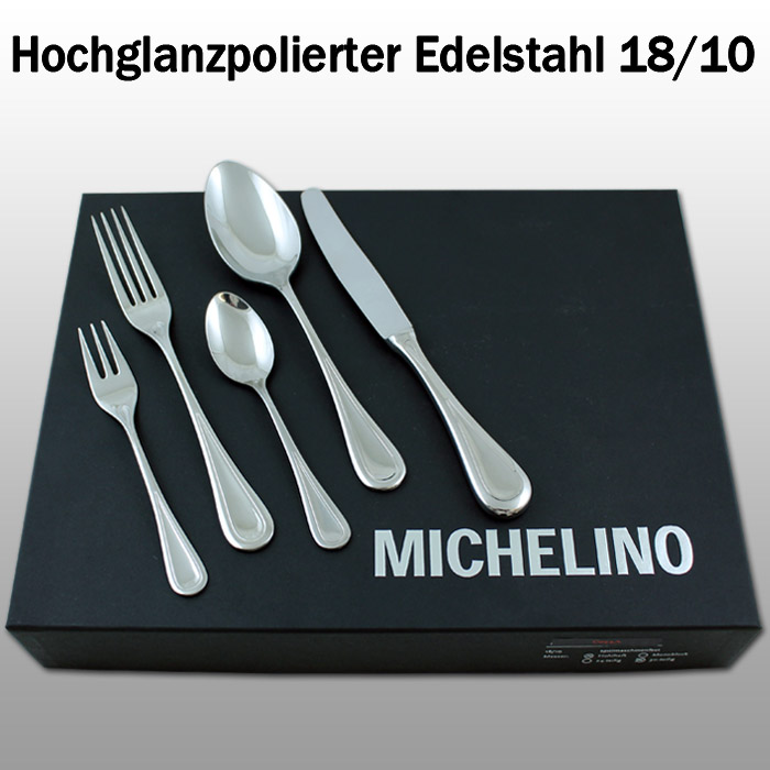 michelin besteck bestek edelstahl 30 teilig 6 personen set besteckset solingen ebay. Black Bedroom Furniture Sets. Home Design Ideas