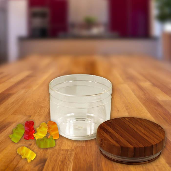 neu aufbewahrungsdose mit deckel aufbewahrungsglas vorratsglas bambus acryl dose ebay. Black Bedroom Furniture Sets. Home Design Ideas