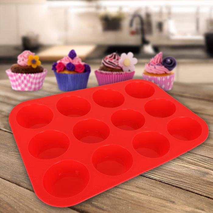 12er muffinform silikon muffin cupcake backform muffinf rmchen silikonform neu ebay. Black Bedroom Furniture Sets. Home Design Ideas