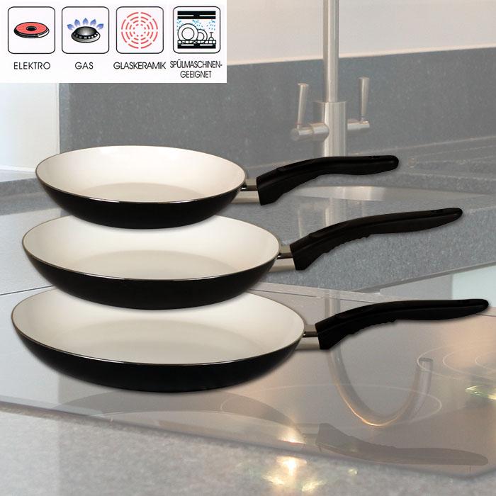 neu 3tlg keramik pfannen set keramik pfanne bratpfanne schmorpfanne grillpfanne ebay. Black Bedroom Furniture Sets. Home Design Ideas