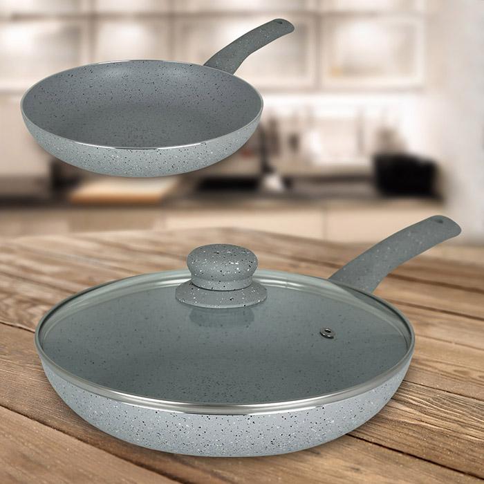 5tlg pfannen set pfanne bratpfanne grillpfanne glasdeckel deckel induktion mamor ebay. Black Bedroom Furniture Sets. Home Design Ideas