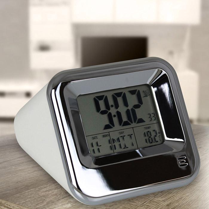 funkwecker wecker reisewecker tischuhr uhr kalender temperatur funk digital neu ebay. Black Bedroom Furniture Sets. Home Design Ideas