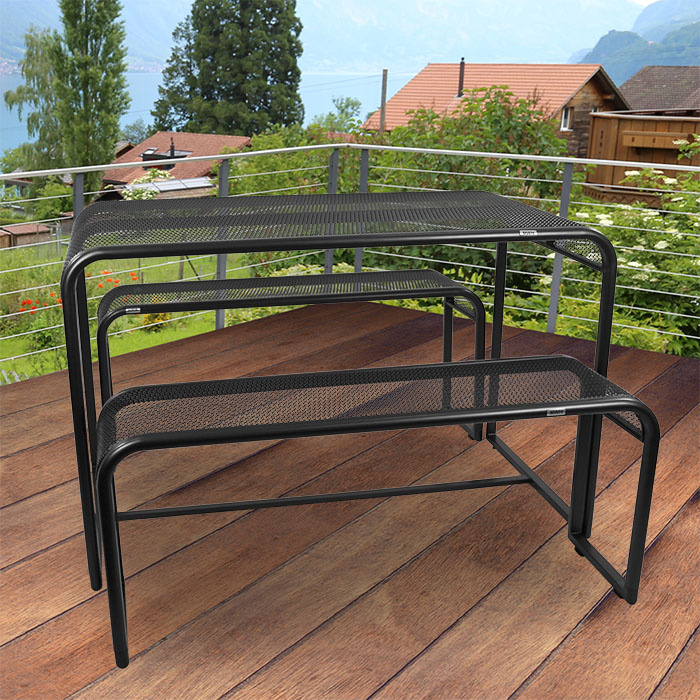 mwh balkon sitzgruppe garnitur tisch bank gartenm bel m bel garten terasse grau ebay. Black Bedroom Furniture Sets. Home Design Ideas
